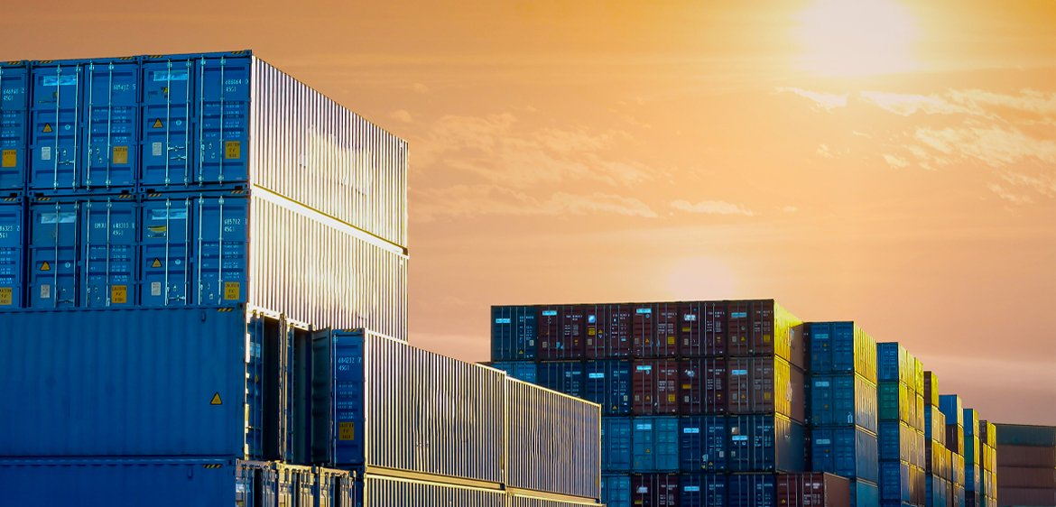 freight containers sunset